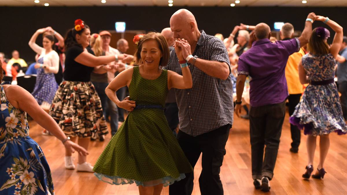 ROCKING: Bill and Trish Ryan enjoying the dancefloor at Civic Hall. Pictures: Adam Trafford