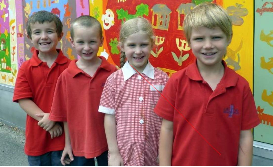 Lal Lal Primary School pupils Harrison Murley, Augustus Barton, Alyssa Bamford and Jasper Clarke in 2014.