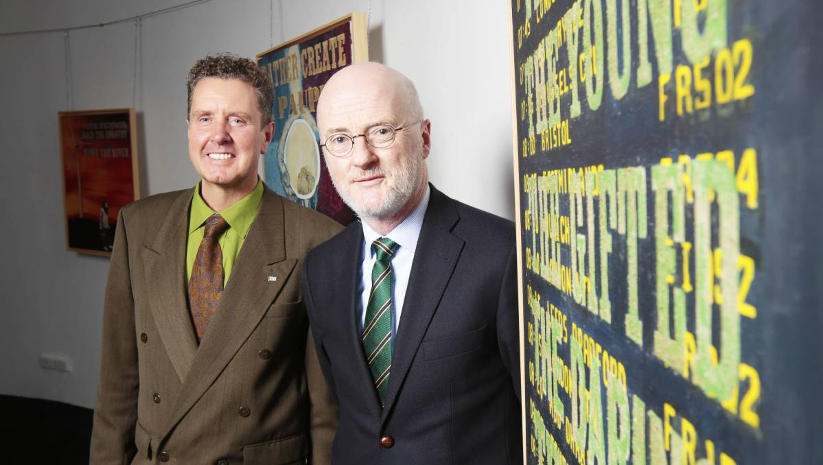 Egalitarianism: Irish artist Brendon Deacy and Irish Ambassador to Australia Noel White open Síoraí at M.A.D.E. Picture: Luka Kauzlaric