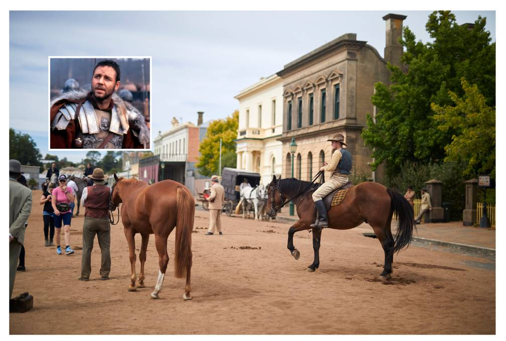 A scene from filming day in Clunes for Picnic at Hanging Rock. Inset: Russell Crowe in body armour for Gladiator.