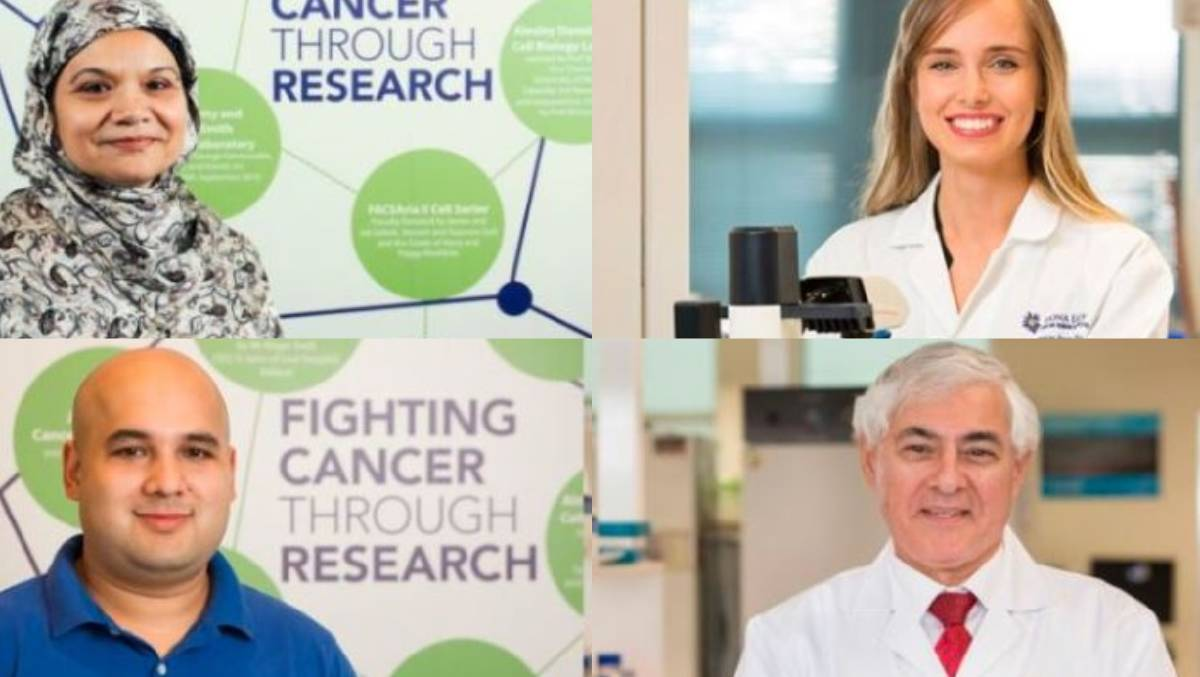 IN FOCUS: (clockwise from top left) Fiona Elsey Cancer Research Institute's ovarian cancer team Professor Nuzhat Ahmed, Dr Elif Kadife, Professor George Kannourakis and Federation University Australia PhD candidate Ali Raza.