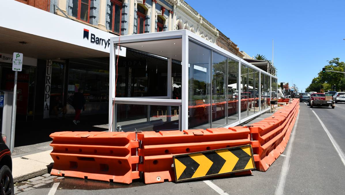 Al fresco: Council's new outdoor dining areas on Sturt Street under construction on Tuesday. Picture: The Courier