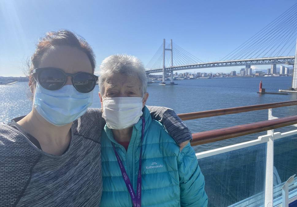 Clare and Lyn Hedger, from Alfredton, are on board the Diamond Princess which is quarantined in Yokohama Harbour after a coronavirus outbreak. Picture: Clare Hedger