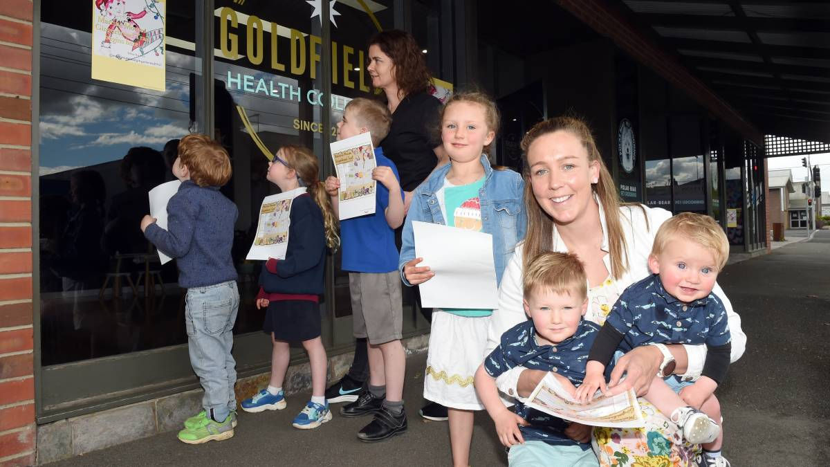 FUN: Byron, Sienna and Orion with Louise Morton and Stephanie Blyth with with Harper, Abel and Tex are promoting a new family initiative, the Marrina Mouse Gingerbread Trail for businesses across Ballarat. Picture: Kate Kealy