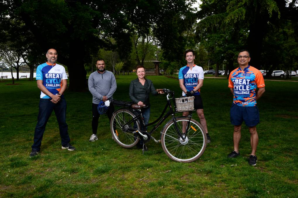 GOOD CAUSE: Bobby Mehta, Hitesh Ghai, Belinda Coates, Nathan Curnow and Susheel Sharma are all participating in the Great Cycle Challenge 2020 to raise money to fight children's cancer. Photo: Adam Trafford