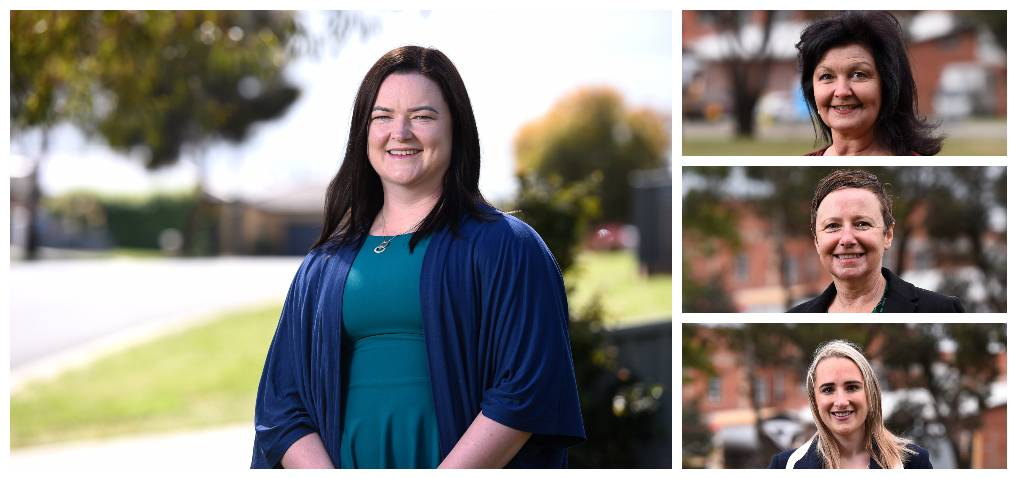 MORE REPRESENTATIVE: New arrival Tracey Hargreaves (main image), with Samantha McIntosh (top right), Belinda Coates (centre), and Amy Johnson, serve on council.