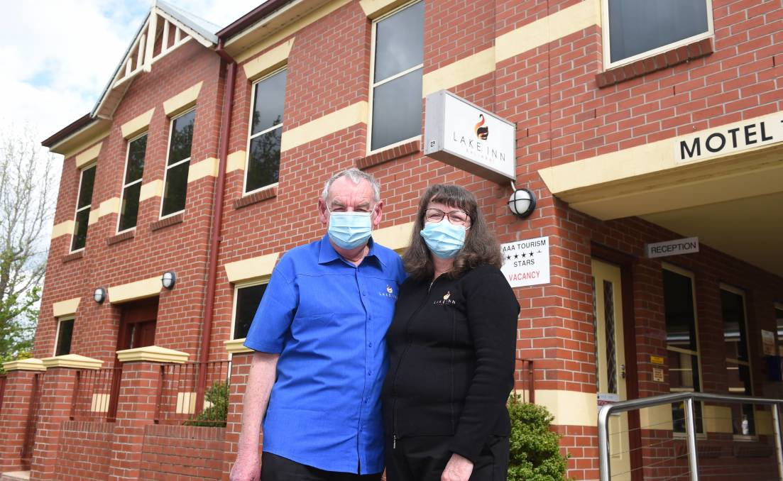 ESCAPE FROM THE CITY: Toney and Trish Wood, who manage the Lake Inn motel, are keen for Melburnians to come out of lockdown - and head to Ballarat. Photo: Kate Healy.