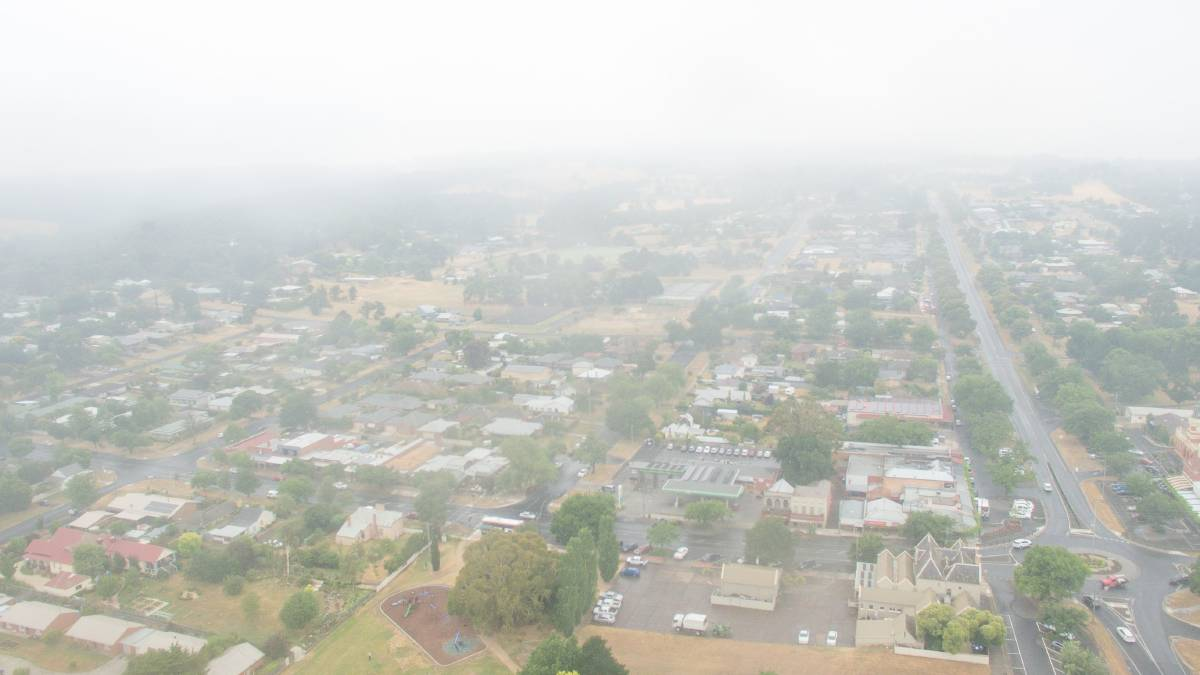 HAZE: Smoky skies over Buninyong on Tuesday. Picture: Skyline Drone Imaging