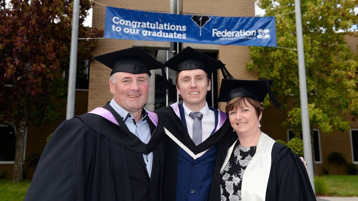 FAMILY GRADUATES: Caius Ryan Brenton Ryan and Helen Ryan all graduated from business related courses at Federation University on Monday. Picture: Kate Healy
